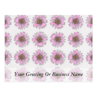 Stained Glass Pink Daisies Postcard
