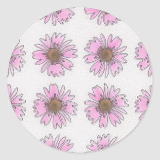 Stained Glass Pink Daisies Stickers