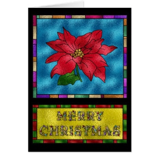 Stained Glass Poinsettia Flower Card