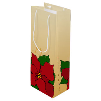 Stained-Glass Poinsettia Wine Gift Bag