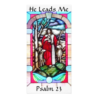 Stained Glass Psalm 23 Photo Card