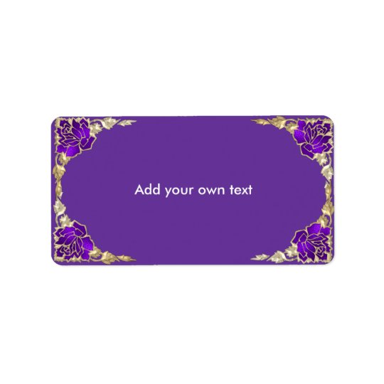 Stained Glass Purple Gold Roses Label
