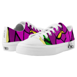 Stained Glass Purple Rose Pattern Canvas Shoes