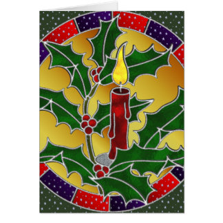 Stained glass red candle with holly card