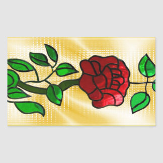 Stained glass red rose rectangular sticker