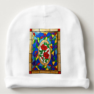 Stained glass red roses baby beanie