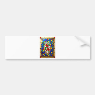 Stained glass red roses bumper sticker