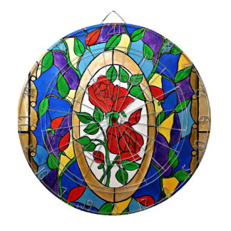 Stained glass red roses dartboard
