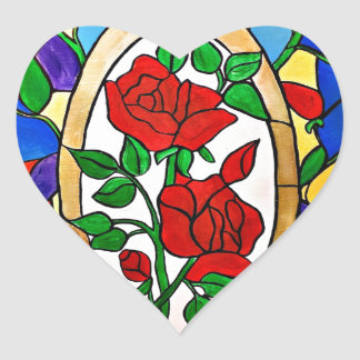Stained glass red roses heart sticker