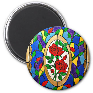 Stained glass red roses magnet