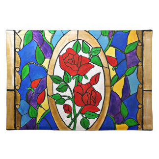 Stained glass red roses placemat