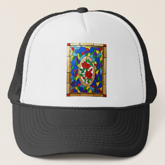 Stained glass red roses trucker hat
