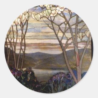 Stained glass scenery round sticker