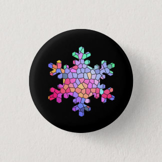 Stained Glass Snowflake Button on Black