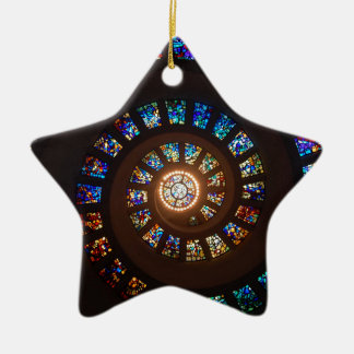 Stained Glass Spiral Ceramic Ornament