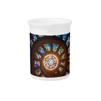 Stained Glass Spiral Pitcher