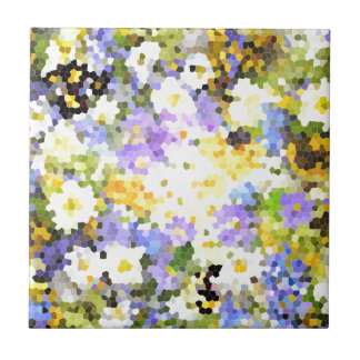 Stained Glass Spring Flowers Yellow Violet Green Tile