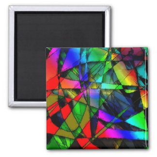 Stained glass square magnet