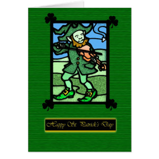 Stained Glass St. Patrick's Day card, Saint Patric Card