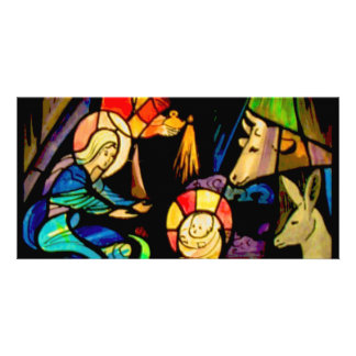 Stained Glass Style Nativity Photo Greeting Card