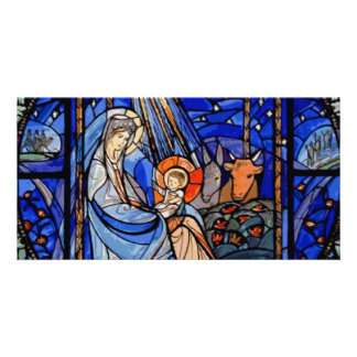 Stained Glass Style Nativity Personalized Photo Card