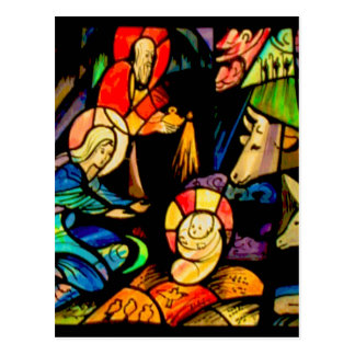 Stained Glass Style Nativity Postcard