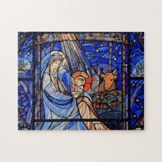 Stained Glass Style Nativity Puzzle