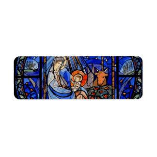 Stained Glass Style Nativity Return Address Label