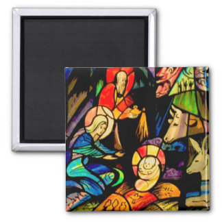 Stained Glass Style Nativity Square Magnet
