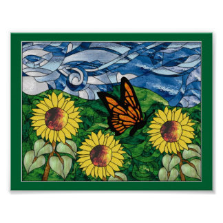 Stained Glass Sunflower Collage Poster