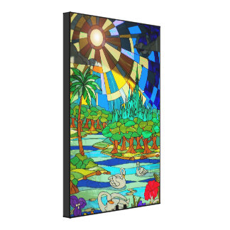 Stained Glass Swan Lake Wrapped Canvas artwork