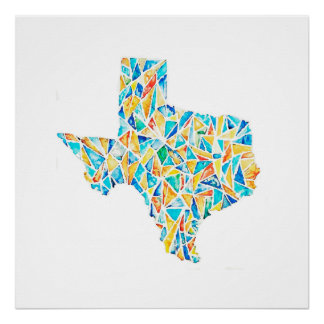 Stained Glass Texas Watercolor Customizable Poster