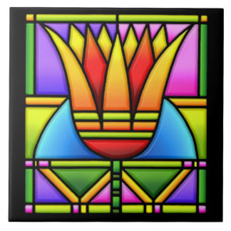 stained glass tulip/lotus design tile