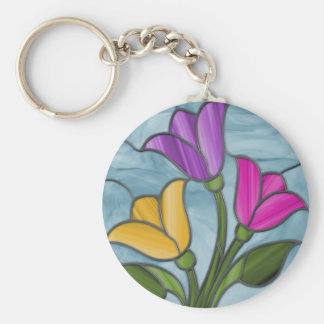 Stained Glass Tulips Keychain