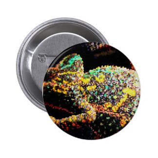 Stained glass veiled chameleon pinback button