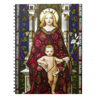 Stained glass Virgin and Child Spiral Note Books