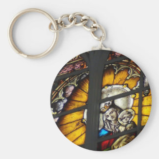 Stained Glass Virgin Mary and Jesus Keychains