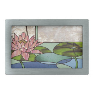 Stained glass water lilies belt buckle