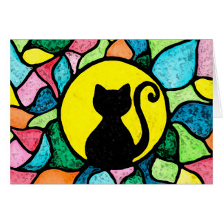 Stained Glass Watercolor Black Kitty Greeting Card