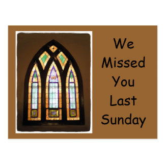 Stained Glass We Missed You Postcard