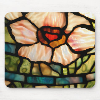 stained glass white poppy mouse pad