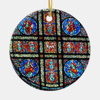 Stained glass window ceramic ornament