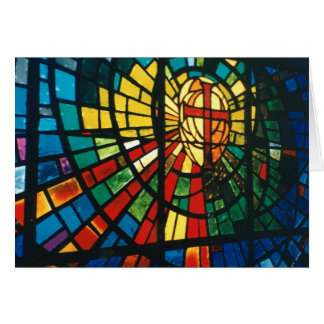 Stained glass window Christian Cross Greeting Card
