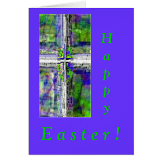 Stained Glass Window Cross. Greeting Card