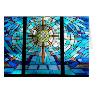 stained glass window, cross greeting card