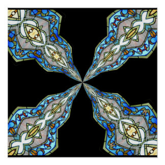 Stained Glass Window Kaleidoscope 16 Posters