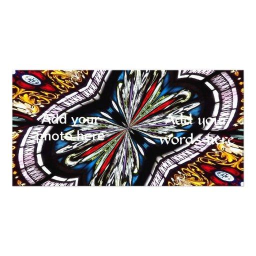 Stained Glass Window Kaleidoscope 22 Personalized Photo Card
