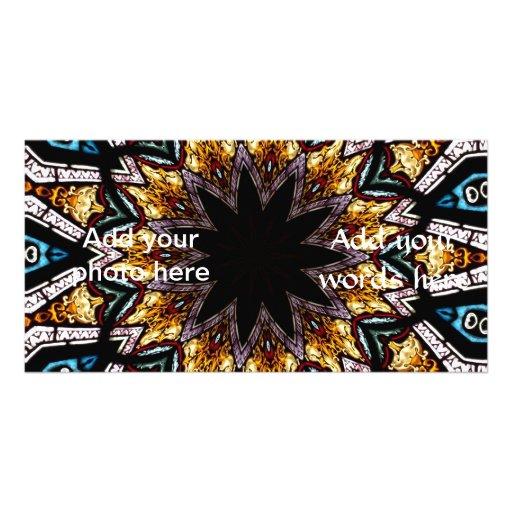 Stained Glass Window Kaleidoscope 4 Custom Photo Card