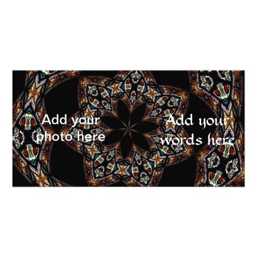 Stained Glass Window Kaleidoscope 5 Photo Card Template