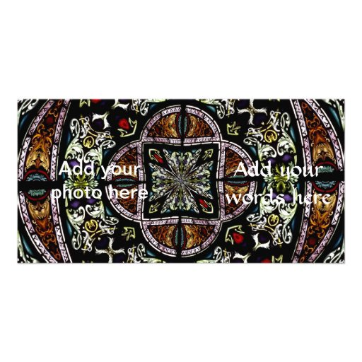 Stained Glass Window Kaleidoscope 6 Photo Card Template